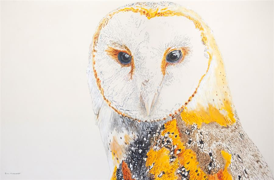 Original art for sale at UGallery.com | Athena the Barn Owl #3 by EMIL MORHARDT | $1,525 |  | 24' h x 36' w | ..\art\acrylic-painting-Athena-the-Barn-Owl-3