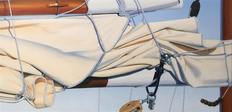 Original art for sale at UGallery.com | Boom, Gaff, and Sail by Debbie Daniels | $4,050 | oil painting | 24' h x 48' w | ..\art\oil-painting-Boom-Gaff-and-Sail