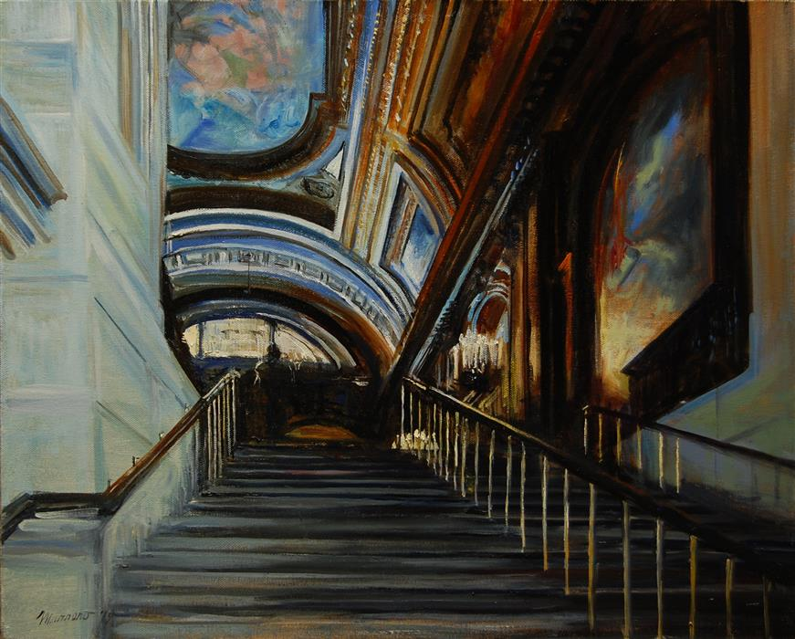 Original art for sale at UGallery.com | Stairway to a New Journey by ONELIO MARRERO | $925 |  | 16' h x 20' w | ..\art\oil-painting-Stairway-to-a-New-Journey
