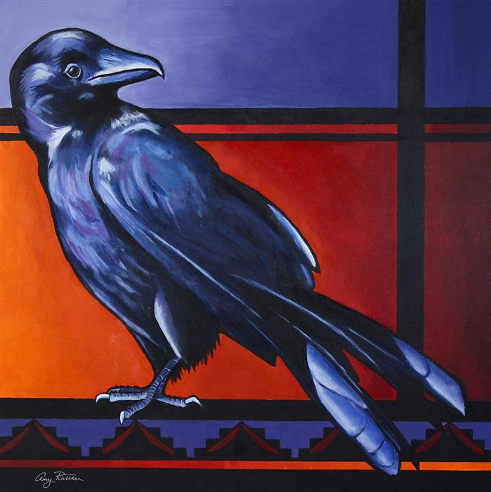 Original art for sale at UGallery.com | Crow Spirit by Amy Rattner | $1,000 | acrylic painting | 24' h x 24' w | ..\art\acrylic-painting-Crow-Spirit