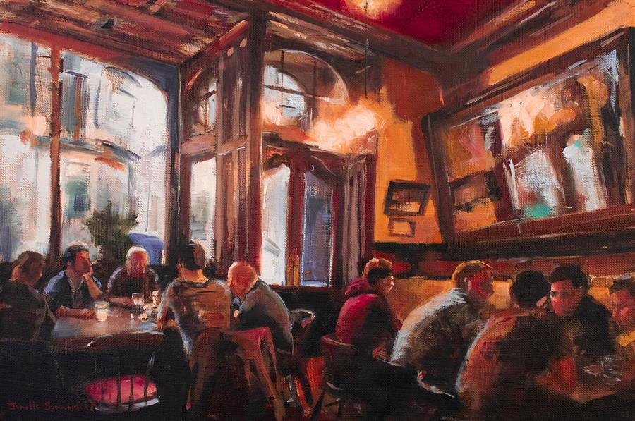 Original art for sale at UGallery.com | Trivia Night at the Pub by JONELLE SUMMERFIELD | $575 |  | 12' h x 18' w | ..\art\oil-painting-Trivia-Night-at-the-Pub