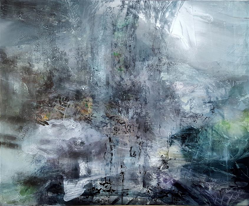 Original art for sale at UGallery.com | Soft Sounds from a Future Deep Forest by Kloska Ovidiu | $4,200 | acrylic painting | 40' h x 48' w | ..\art\acrylic-painting-Large-Mindscape-Soft-Sounds-from-a-Future-Deep-Forest