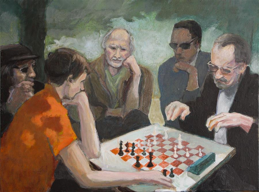 Original art for sale at UGallery.com | Chess by Bertrand Girard | $1,800 | acrylic painting | 23' h x 31' w | ..\art\acrylic-painting-Chess