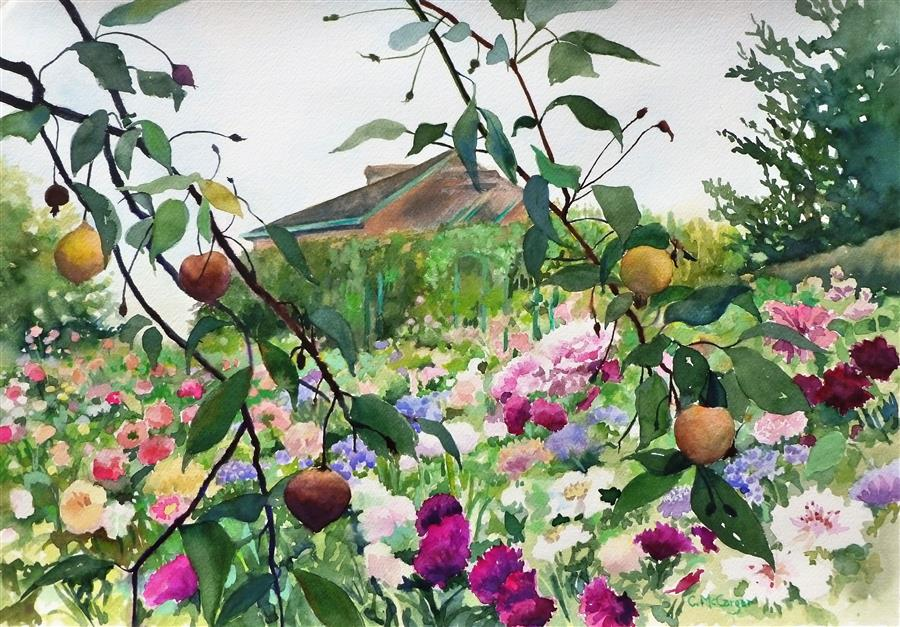 Original art for sale at UGallery.com | Pears and Blossoms at Giverny by CATHERINE MCCARGAR | $950 |  | 14' h x 20' w | ..\art\watercolor-painting-Pears-and-Blossoms-at-Giverny