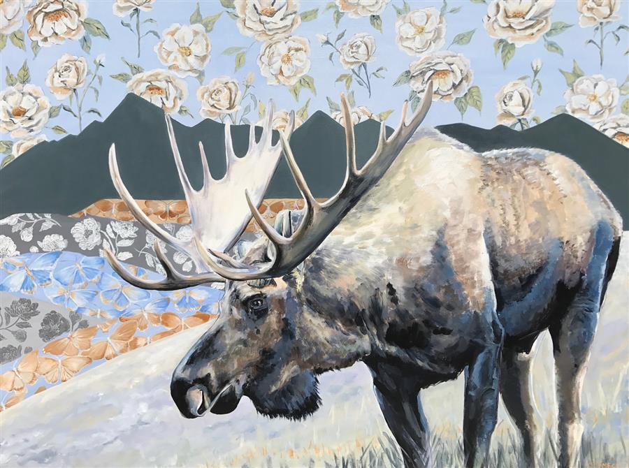 Original art for sale at UGallery.com | Moose in the Mountains by Alana Clumeck | $2,500 | acrylic painting | 36' h x 48' w | ..\art\acrylic-painting-Moose-in-the-Mountains