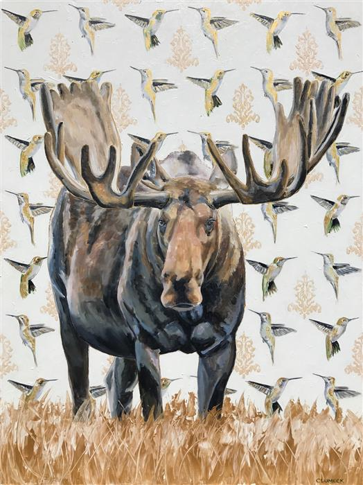 Original art for sale at UGallery.com | Humming Moose by Alana Clumeck | $2,225 | acrylic painting | 48' h x 36' w | ..\art\acrylic-painting-Humming-Moose