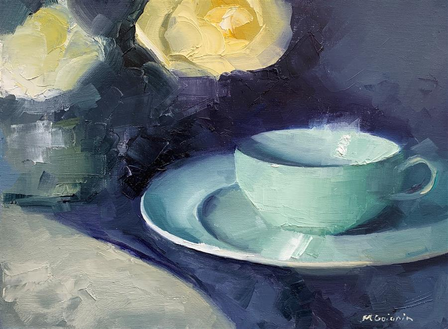 Original art for sale at UGallery.com | White Roses Blue Cup by MARY BETH GAIARIN | $425 |  | 9' h x 12' w | ..\art\oil-painting-White-Roses-Blue-Cup