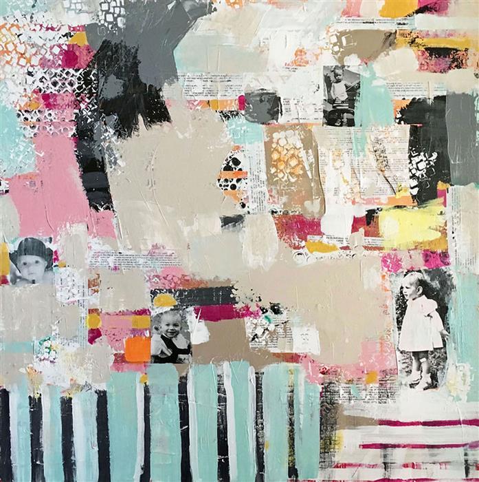 Original art for sale at UGallery.com | Play Date by Brenda Buffett | $1,475 | mixed media artwork | 40' h x 40' w | ..\art\mixed-media-artwork-Play-Date