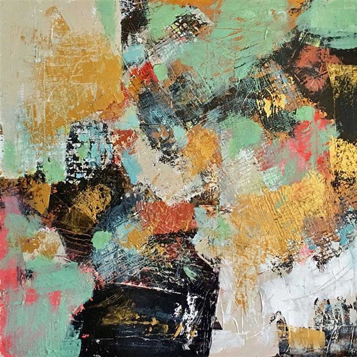 Original art for sale at UGallery.com | Streaming by Brenda Buffett | $1,300 | mixed media artwork | 36' h x 36' w | ..\art\mixed-media-artwork-Streaming