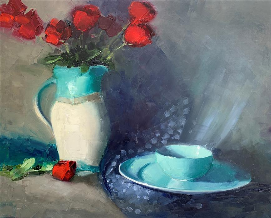 Original art for sale at UGallery.com | Pitcher with a Blue Bowl by Mary Beth Gaiarin | $1,100 | oil painting | 24' h x 30' w | ..\art\oil-painting-Pitcher-with-a-Blue-Bowl