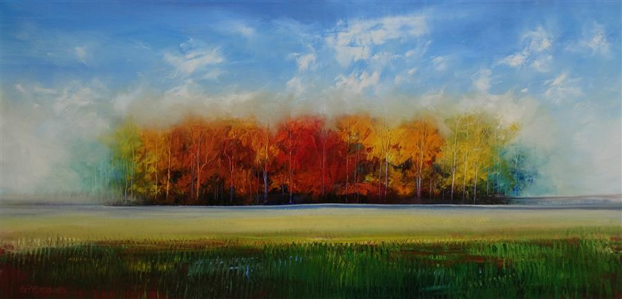 Original art for sale at UGallery.com | The Back Forty Acres by GEORGE PEEBLES | $4,300 |  | 30' h x 60' w | ..\art\oil-painting-The-Back-Forty-Acres