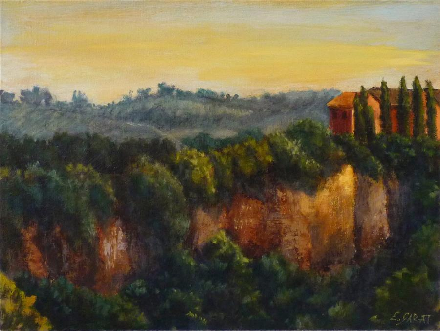 Original art for sale at UGallery.com | View at Civita Castellana No. 2 by Elizabeth Garat | $650 | oil painting | 16' h x 12' w | ..\art\oil-painting-View-at-Civita-Castellana-No-2