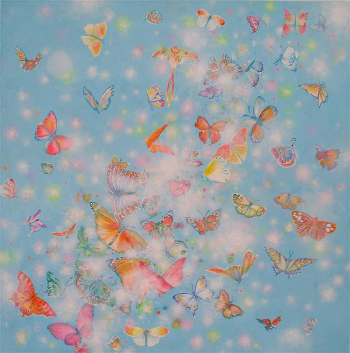 Original art for sale at UGallery.com | Fluffs and Butterflies by NATASHA TAYLES | $950 |  | 24' h x 24' w | ..\art\acrylic-painting-Fluffs-and-Butterflies