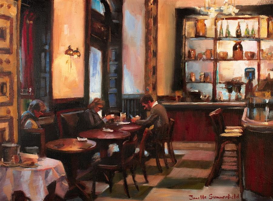 Original art for sale at UGallery.com | A Quiet Dinner by Jonelle Summerfield | $575 | oil painting | 12' h x 16' w | ..\art\oil-painting-A-Quiet-Dinner