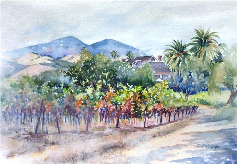 Original art for sale at UGallery.com | California Wine Country by Catherine McCargar | $950 | watercolor painting | 14' h x 20' w | ..\art\watercolor-painting-California-Wine-Country