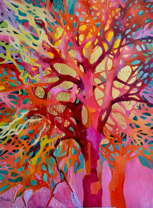 Original art for sale at UGallery.com | Singing Trees 5 by Julia Hacker | $3,650 | mixed media artwork | 48' h x 36' w | ..\art\mixed-media-artwork-Singing-Trees-5