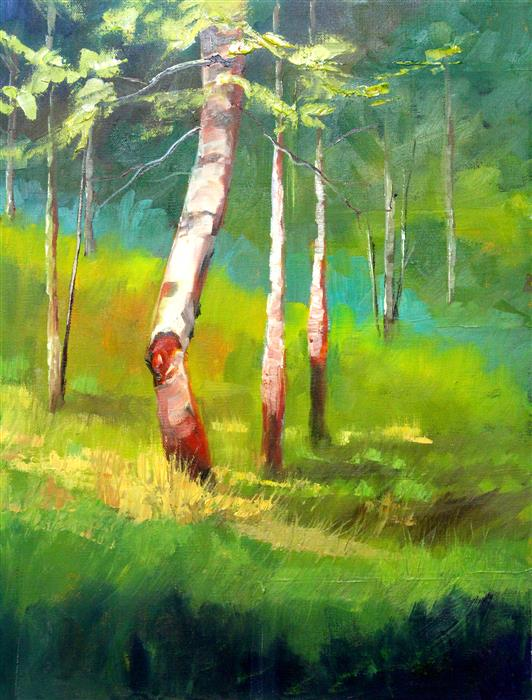 Original art for sale at UGallery.com | Summer Forest by NANCY MERKLE | $650 |  | 20' h x 16' w | ..\art\oil-painting-Summer-Forest