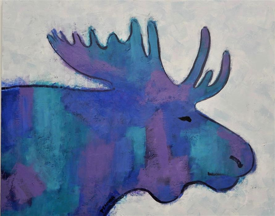 Original art for sale at UGallery.com | Moose Blue by Carolyn Pennor | $975 | acrylic painting | 24' h x 30' w | ..\art\acrylic-painting-Moose-Blue