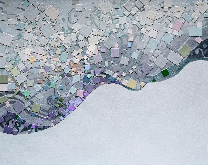 Original art for sale at UGallery.com | Dream of a Crane by Tomo Mori | $2,675 | mixed media artwork | 24' h x 30' w | ..\art\mixed-media-artwork-Dream-of-a-Crane