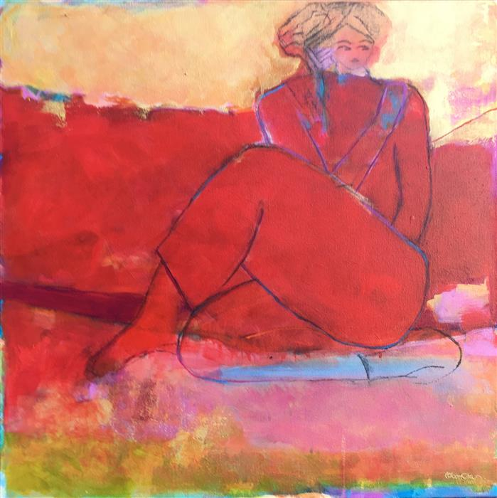 Original art for sale at UGallery.com | Pensive in Red by Robin Okun | $1,100 | acrylic painting | 24' h x 24' w | ..\art\acrylic-painting-Pensive-in-Red