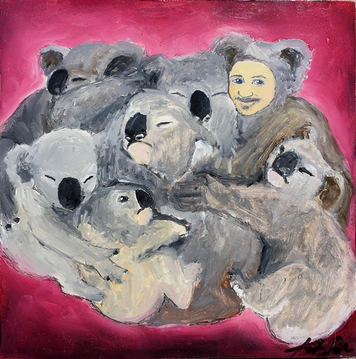 Original art for sale at UGallery.com | Group Hug by Kat Silver | $300 | oil painting | 6' h x 6' w | ..\art\oil-painting-Group-Hug