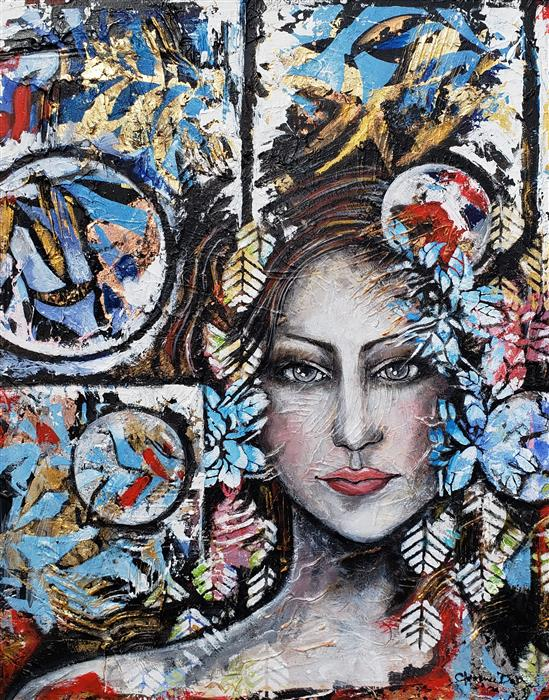 Original art for sale at UGallery.com | The Lady - Vibration of Liberation by Clemence Dubois | $1,625 | mixed media artwork | 30' h x 24' w | ..\art\mixed-media-artwork-The-Lady-Vibration-of-Liberation
