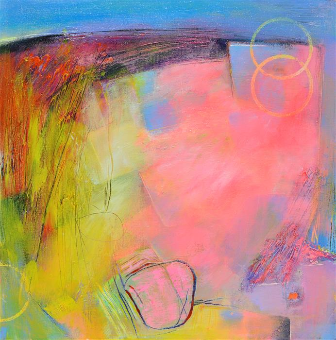 Original art for sale at UGallery.com | Landscape Abstraction with Circles by Patrick O'Boyle | $700 | acrylic painting | 20' h x 20' w | ..\art\acrylic-painting-Landscape-Abstraction-with-Circles