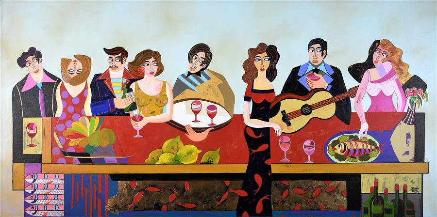 Original art for sale at UGallery.com | Party with Friends by Diana Rosa | $3,250 | acrylic painting | 24' h x 48' w | ..\art\acrylic-painting-Party-with-Friends