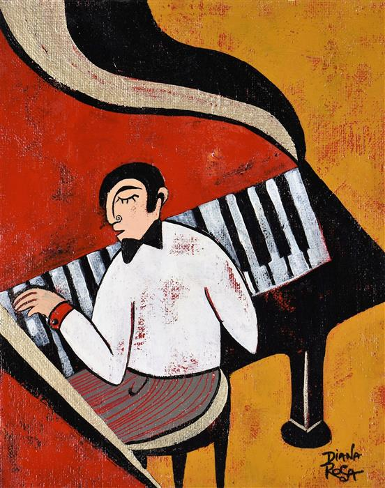 Original art for sale at UGallery.com | The Pianist by Diana Rosa | $475 | acrylic painting | 10' h x 8' w | ..\art\acrylic-painting-The-Pianist