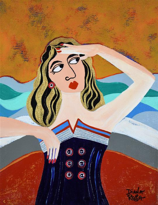 Original art for sale at UGallery.com | Marina by Diana Rosa | $475 | acrylic painting | 10' h x 8' w | ..\art\acrylic-painting-Marina-63859