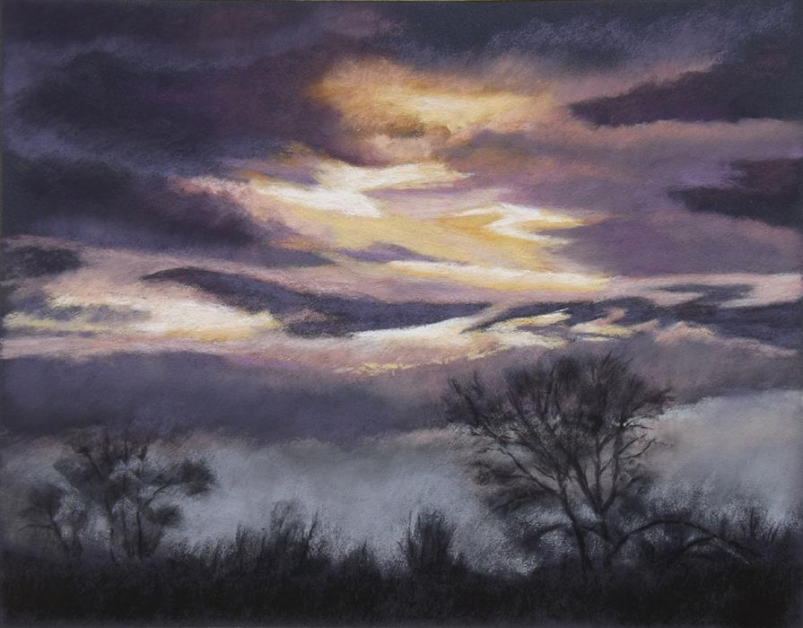 Original art for sale at UGallery.com | After the Cranes Came by Patricia Prendergast | $475 | pastel artwork | 11' h x 14' w | ..\art\pastel-artwork-After-the-Cranes-Came