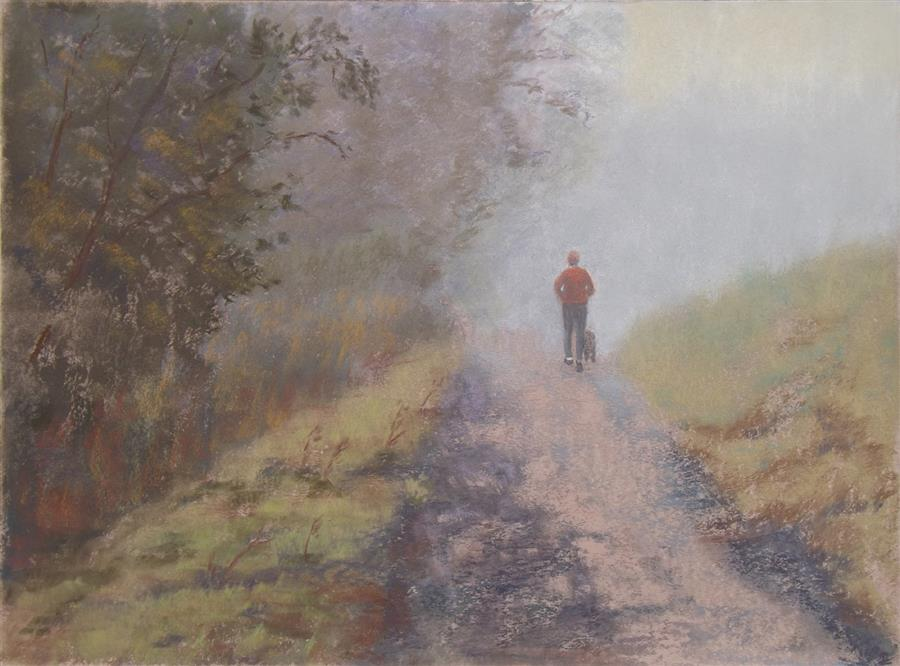 Original art for sale at UGallery.com | Foggy Morning Joggers by Patricia Prendergast | $575 | pastel artwork | 12' h x 16' w | ..\art\pastel-artwork-Foggy-Morning-Joggers