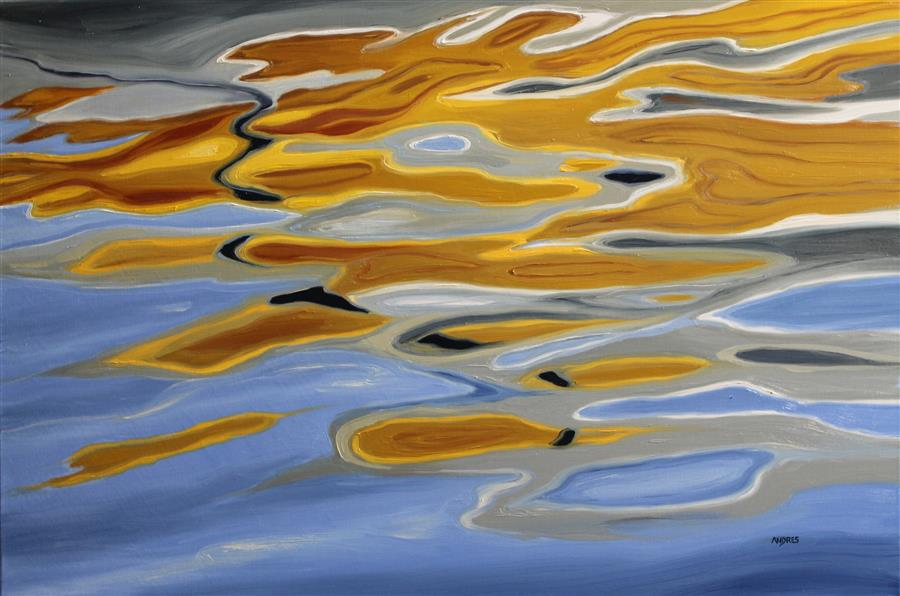 Original art for sale at UGallery.com | Gold and Silver Tide by Andres Lopez | $1,150 | oil painting | 20' h x 30' w | ..\art\oil-painting-Gold-and-Silver-Tide