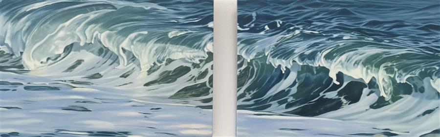 Original art for sale at UGallery.com | Plunging Wave by Debbie Daniels | $4,600 | oil painting | 20' h x 60' w | ..\art\oil-painting-Plunging-Wave