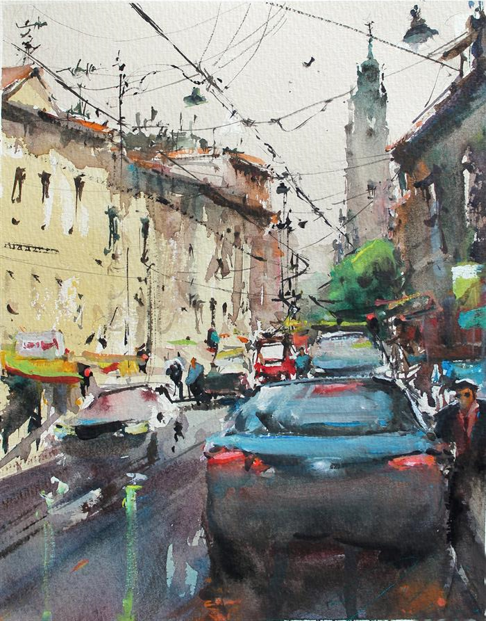Original art for sale at UGallery.com | Al Corso di Pompei by Maximilian Damico | $550 | watercolor painting | 11' h x 8.5' w | ..\art\watercolor-painting-Al-Corso-di-Pompei