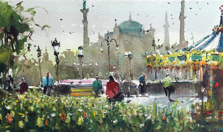 Original art for sale at UGallery.com | Yellow Tulips in Istanbul by Maximilian Damico | $450 | watercolor painting | 6.5' h x 11' w | ..\art\watercolor-painting-Yellow-Tulips-in-Istanbul
