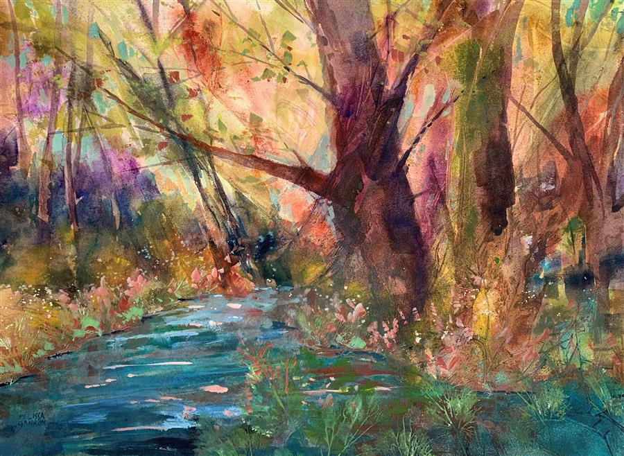 Original art for sale at UGallery.com | Beginnings of Spring by Melissa Gannon | $675 | mixed media artwork | 18' h x 24' w | ..\art\mixed-media-artwork-Beginnings-of-Spring