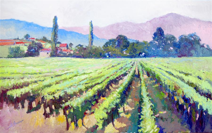 Original art for sale at UGallery.com | Vineyards, Early Summer Morning, California by Suren Nersisyan | $2,600 | oil painting | 30' h x 48' w | ..\art\oil-painting-Vineyards-Early-Summer-Morning-California