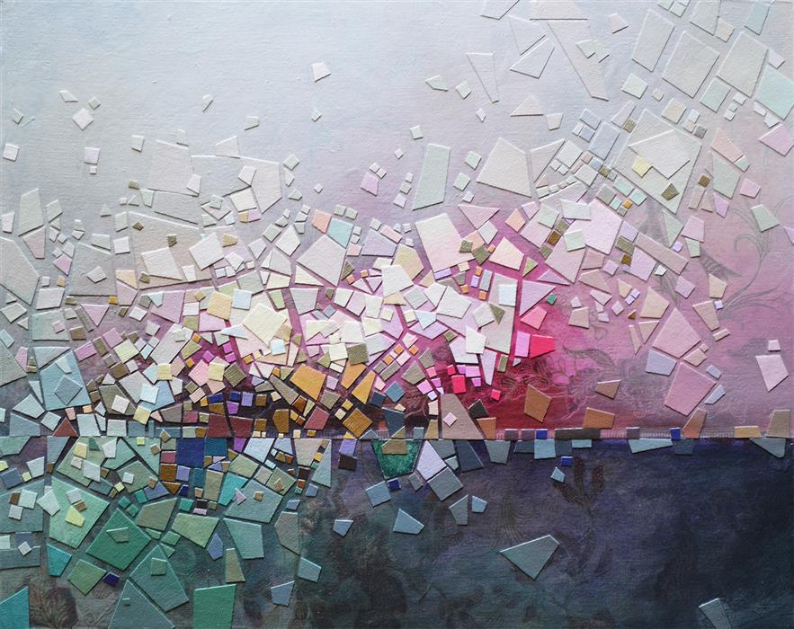 Original art for sale at UGallery.com | Somewhere 1 by Tomo Mori | $2,350 | mixed media artwork | 20' h x 24' w | ..\art\mixed-media-artwork-Somewhere-1