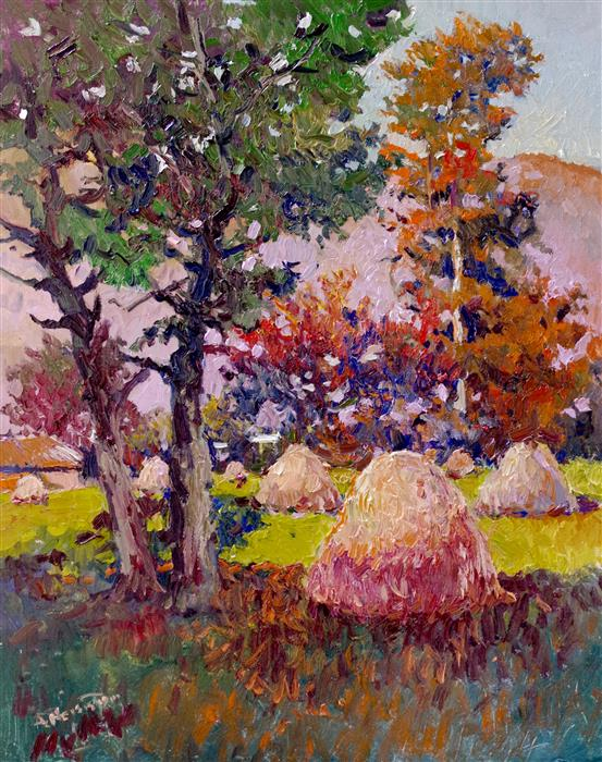 Original art for sale at UGallery.com | Haystacks by Suren Nersisyan | $975 | oil painting | 30' h x 24' w | ..\art\oil-painting-Haystacks