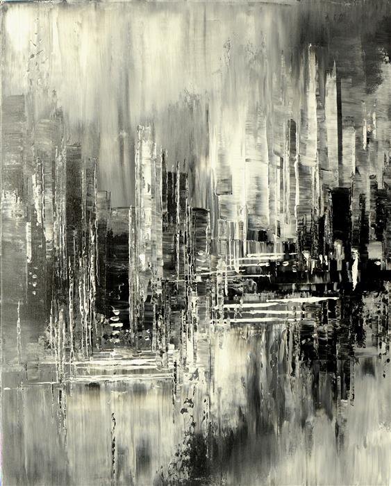Original art for sale at UGallery.com | Fleeting Reflections by Tatiana Iliina | $1,225 | acrylic painting | 30' h x 24' w | ..\art\acrylic-painting-Fleeting-Reflections