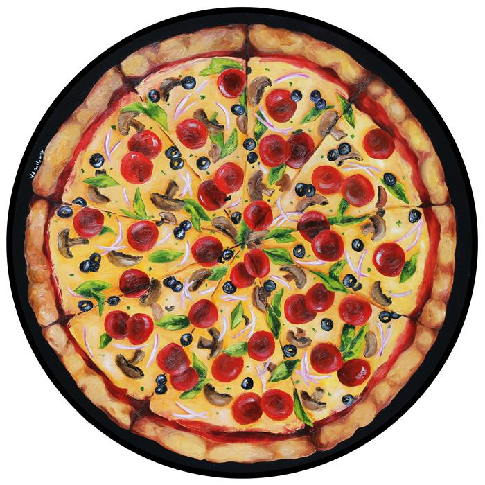 Original art for sale at UGallery.com | Pizza Pie by JJ Galloway | $1,400 | oil painting | 28' h x 28' w | ..\art\oil-painting-Pizza-Pie
