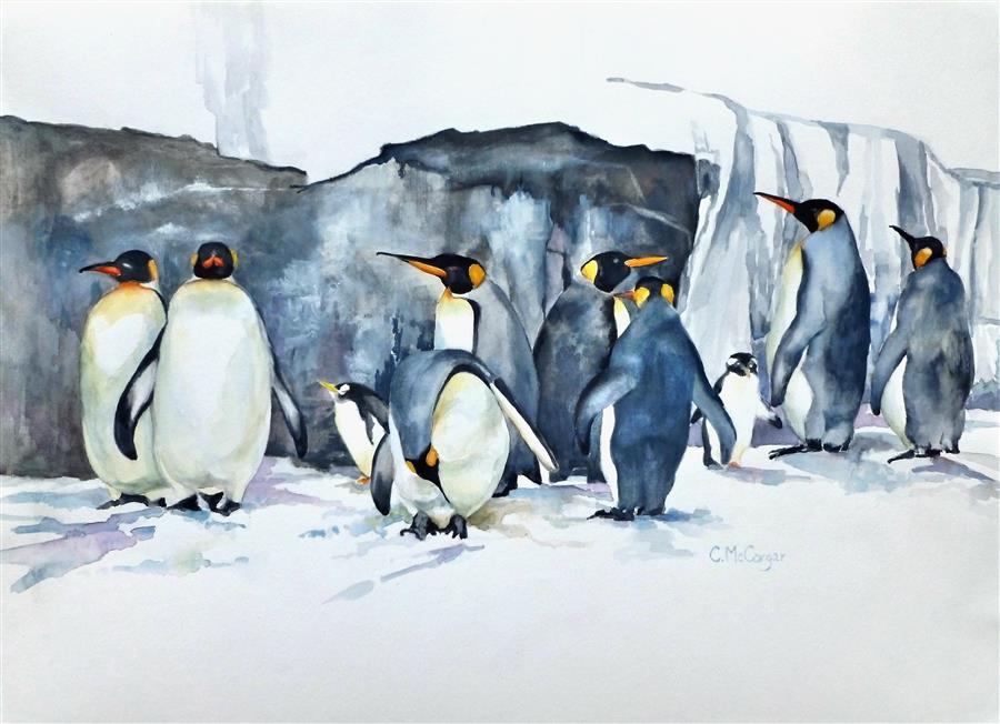 Original art for sale at UGallery.com | Family Gathering by CATHERINE MCCARGAR | $1,625 |  | 20' h x 27.5' w | ..\art\watercolor-painting-Family-Gathering