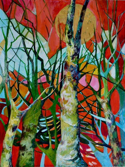 Original art for sale at UGallery.com | Singing Trees in Red by Julia Hacker | $5,050 | mixed media artwork | 48' h x 36' w | ..\art\mixed-media-artwork-Singing-Trees-in-Red