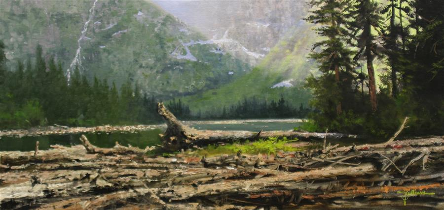 Original art for sale at UGallery.com | Mountain Lake by Kent Sullivan | $1,350 | oil painting | 12' h x 24' w | ..\art\oil-painting-Mountain-Lake-63977
