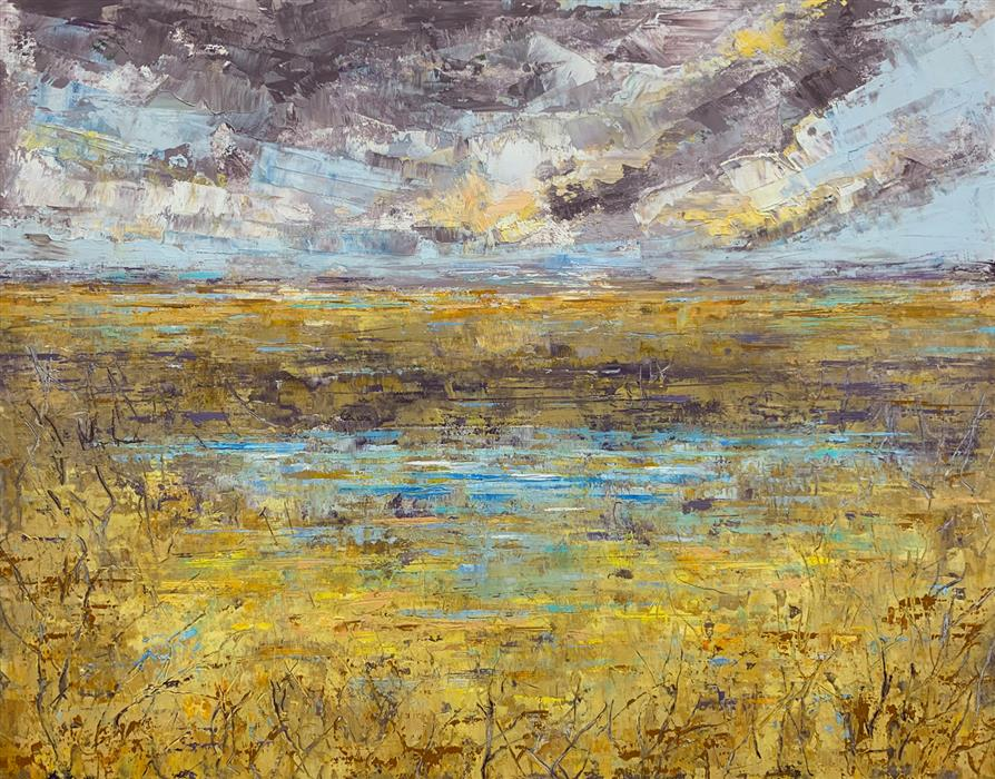 Original art for sale at UGallery.com | Fields of Gold by STEPHANIE THWAITES | $575 |  | 11' h x 14' w | ..\art\oil-painting-Fields-of-Gold