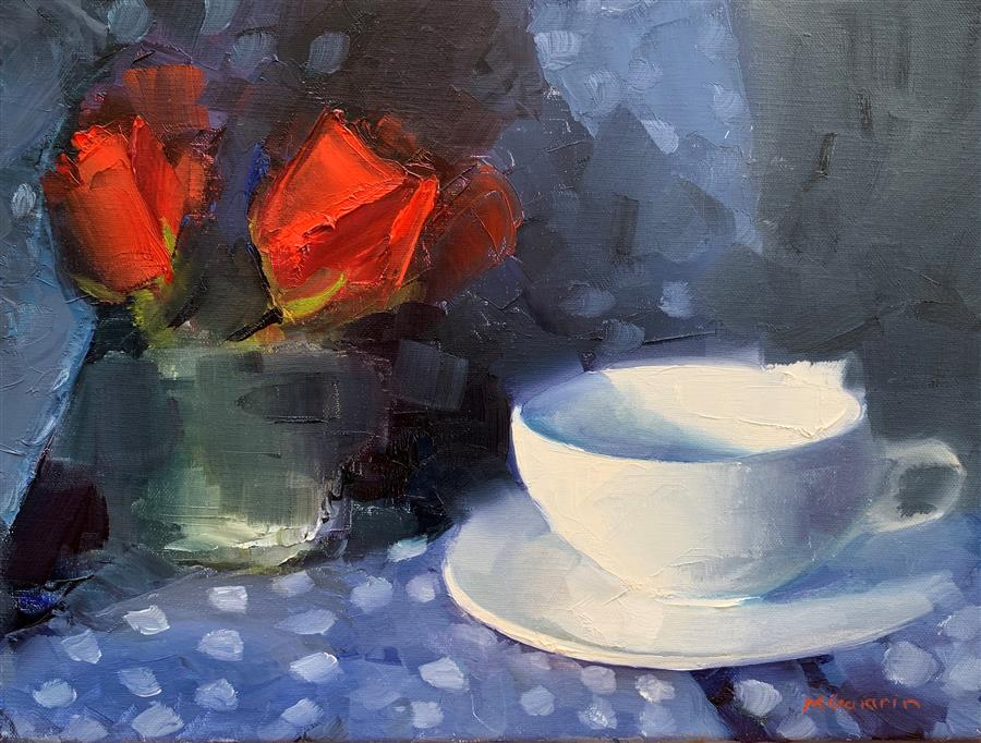 Original art for sale at UGallery.com | Red Roses White Cup by Mary Beth Gaiarin | $275 | oil painting | 9' h x 12' w | ..\art\oil-painting-Red-Roses-White-Cup