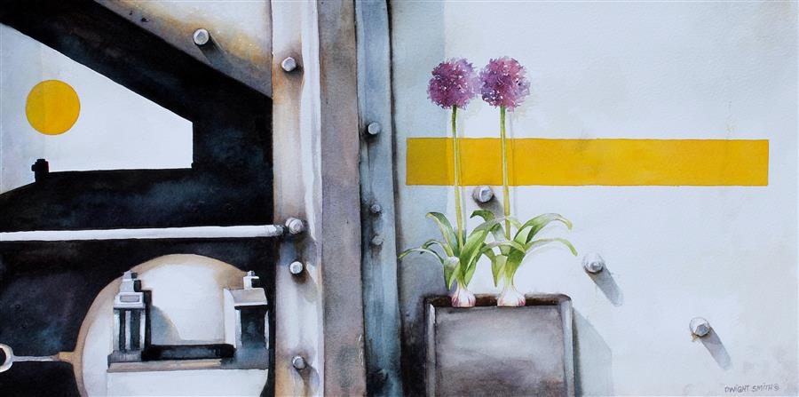 Original art for sale at UGallery.com | Garden Popup #2 by Dwight Smith | $500 | watercolor painting | 9' h x 18' w | ..\art\watercolor-painting-Garden-Popup-2