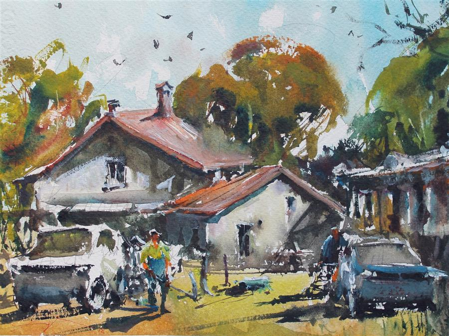 Original art for sale at UGallery.com | Working Farm by Maximilian Damico | $550 | watercolor painting | 8' h x 11' w | ..\art\watercolor-painting-Working-Farm