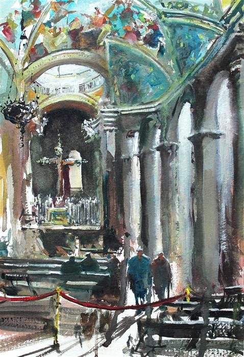 Original art for sale at UGallery.com | Sketching Interior by Maximilian Damico | $550 | watercolor painting | 7.5' h x 11' w | ..\art\watercolor-painting-Sketching-Interior